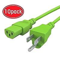 10個パックGearIt 18AWGユニバーサル電源コードNEMA 5–15pにiec320C13[ UL Listed ]、グリーン( 4フィート/ 1.2メートル)