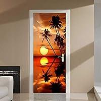 Mingld 現代のサンセットビーチココナッツツリーフォト壁画の壁紙3Dリビングルームの寝室長老の部屋のドアのステッカーPvc壁紙3D装飾-280X200Cm