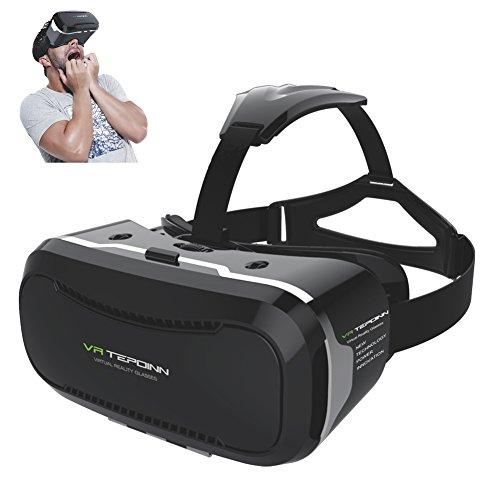 (テポインー)Tepoinn 3D VR ゴーグル3D VRメガネ 超3D映像効果 4-6インチのスマートフォンiPhone 6Plus 6 Samsung などに適用 3D動画 VR体験メガネ 映画ゲーム 立体動画 ヘッドバンド付き (黒 二代)