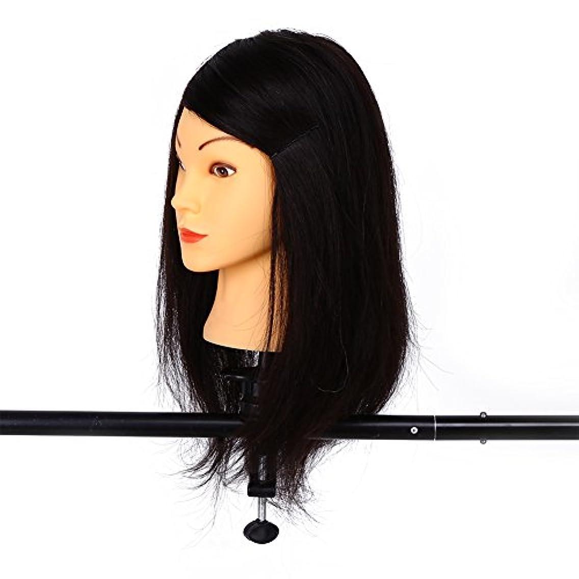 ほこりっぽいささいなブラウスマネキンヘッド、美容院トレーニング実践ヘッドマネキンロング理髪+ブレードセットツール(5#)