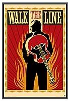 ジョニー・キャッシュWalk The Line額入りポスター–品質ブラックメタルフレーム24x 36