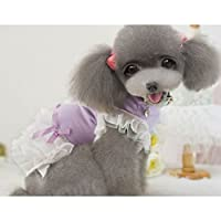 Zhhlinyuan ペット服犬用 ペット服 チワワ ドッグウェア 洋服 ドレス 可愛い おしゃれ Small Pet Puppy Dog Cat Dress Lace Dresses Princess Skirt Dress Up Costume