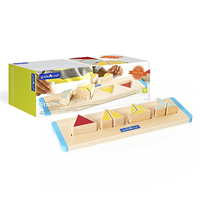 Guidecraftスターター三角形分数 – Early Stemスキル木製パズルfor Toddlers、キッズ教育玩具形状ソーター