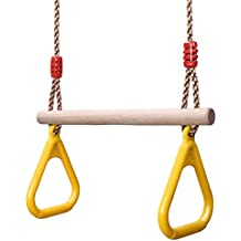 YOHOOLYO Children Trapeze Swing Bar with Rings Wooden Playset with Plastic Rings Gym Rings for Kids