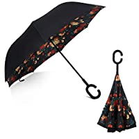 Inverted Double Layerセルフスタンド防風UV保護逆Folding c-hook手umbrellas-black