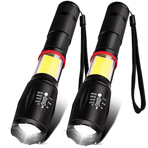 COB 懐中電灯 LED 2pcs iToncs 強力 防災 軍用 500m マグネット付き COBサイドライト 電池式 ライト 明るい 超高輝度 最強 ハンディライト ズームライト ズーム式 防水