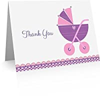 Pink Baby Thank You (24 Foldover Cards and Envelopes) [並行輸入品]