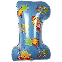 Lovoski アルミニウムフィルムバルーン 風船 デコレーション 飾り付け ベビーシャワー 出産祝い 誕生日 1歳 全2色 - 青