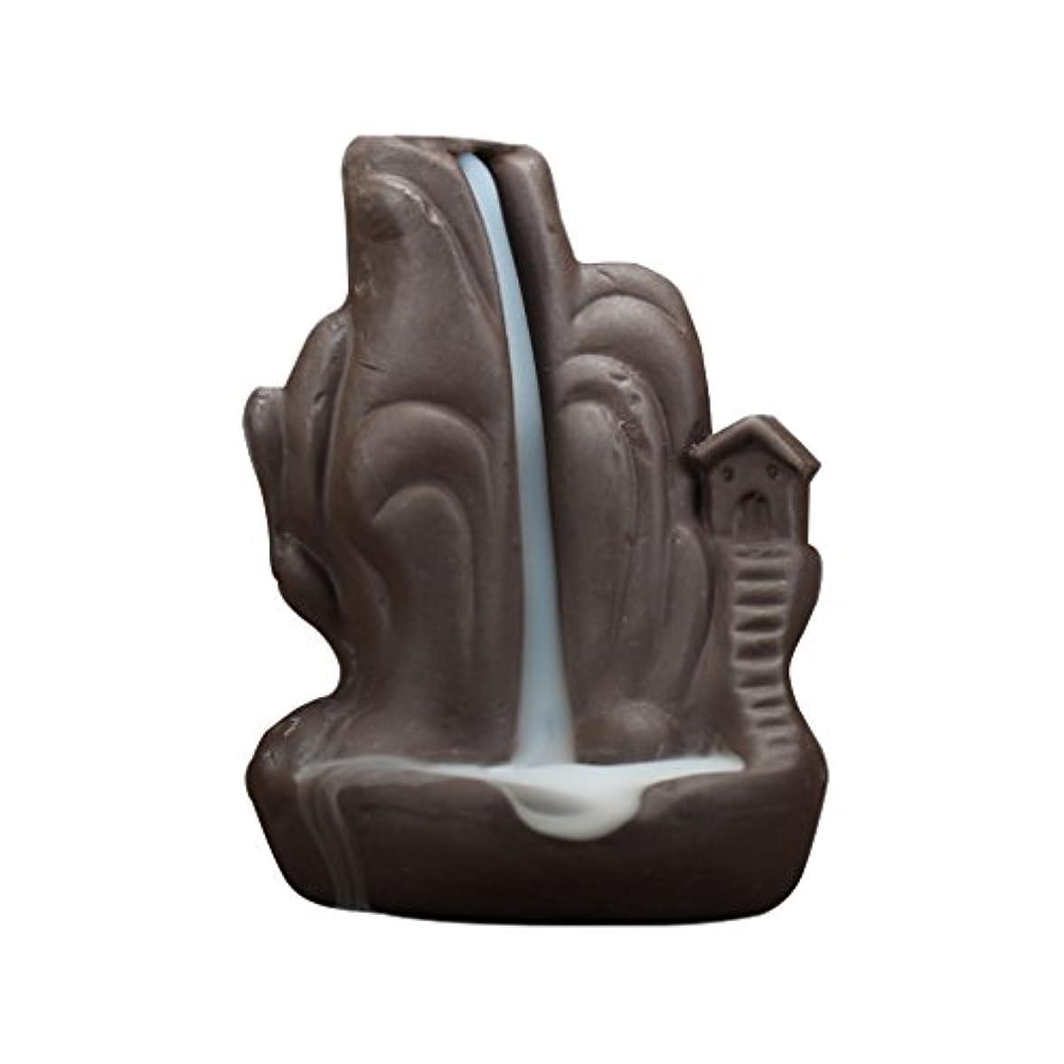 機関車名詞製作セラミック 香炉 繊細 絶妙 デザイン 逆流香 香炉 コーンホルダー 古典的 装飾 全4種 - 褐色, 説明したように