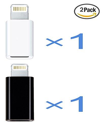 JPUP 【2個セット】Lightning & Micro USB 変換アダプタ Micro USB(メス) to Lightningアダプタ 変換コネクタ USBケーブル iphone 7/7 plus/8/6/6s/6s plus /ipad mini/ipad air/ipod touch 6に対応 裏表関係なく挿せる 高速転送可能(黒い+白い)