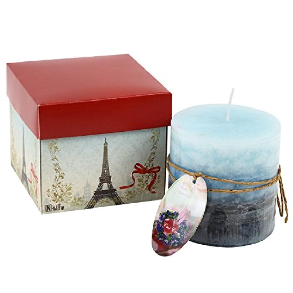 量生産性主要なN-hilfe キャンドル 7.5x7.5cm 蝋燭 アロマキャンドル (ビーチ,青)