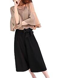 (エスタロージー) Esta Rosy 2点セット パンツ スーツ シフォン ブラウス ワイド パンツ 7分丈 ベル スリーブ