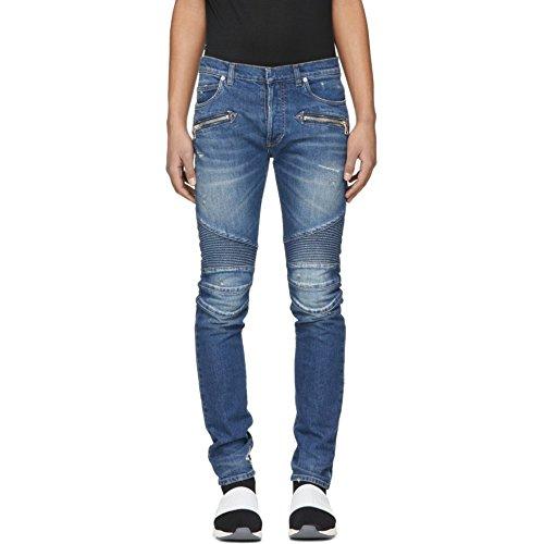 (バルマン) Balmain メンズ ボトムス・パンツ ジーンズ・デニム Blue 7-Pocket Washed Effect Biker Jeans [並行輸入品]