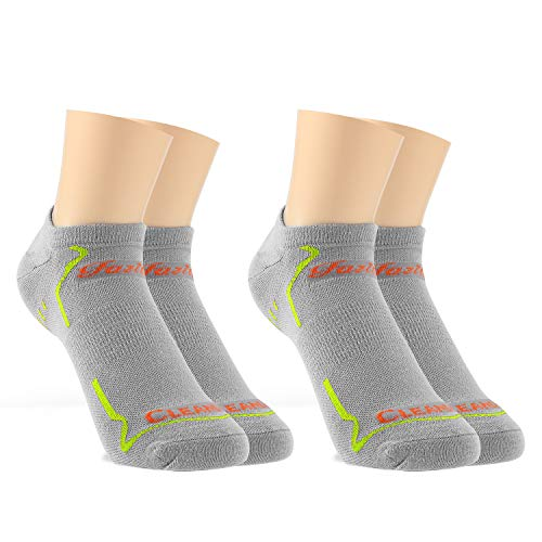 Fazitrip ソックス メンズ レディース ショートソックス 靴下 銀イオン くるぶし 抗菌防臭 吸汗速乾 滑り止め 2足組 (M (24-25cm), 灰)