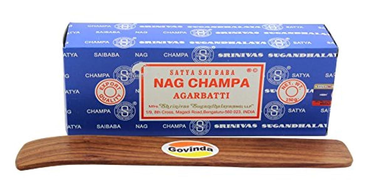 割合設置牽引Satyaバンガロール(BNG) Nag Champa argarbatti 250グラムwith (Govinda Incense Holder)