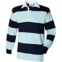 Front Row Sewn Stripe Long Sleeve Sports Rugby Polo Shirt