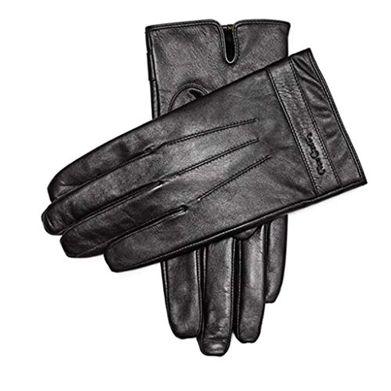 見物人浸した挑む手袋暖かい肥厚プラスベルベットメンズシープスキン手袋メンズウィンターアンチスキッドサイクリングレザーグローブタッチスクリーンモデル(883191170-1厚いベルベット)L(175 / 65-70KG)
