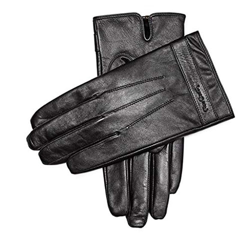 ジョグ枯渇アイスクリーム手袋暖かい肥厚プラスベルベットメンズシープスキン手袋メンズウィンターアンチスキッドサイクリングレザーグローブタッチスクリーンモデル(883191170-1厚いベルベット)L(175 / 65-70KG)