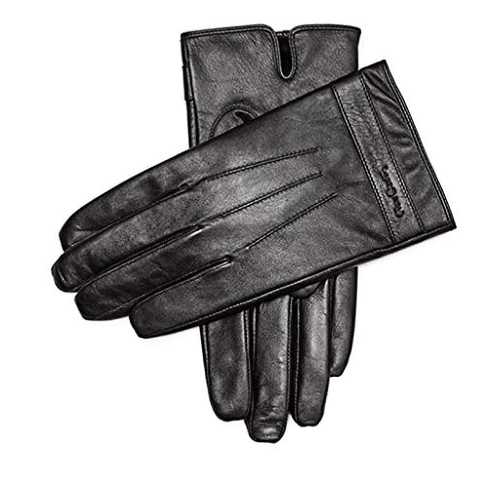 利得タイプライター世論調査手袋暖かい肥厚プラスベルベットメンズシープスキン手袋メンズウィンターアンチスキッドサイクリングレザーグローブタッチスクリーンモデル(883191170-1厚いベルベット)L(175 / 65-70KG)