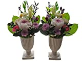 プリザーブドフラワー仏花 一対 新盆 お盆 お供え 高さ30㎝ 紫系 命日 白花器付き