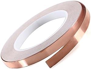 Dorjeey 銅箔テープ シール 幅10mm 25m巻き 導電性 粘着 銅箔 テープEMC EMI ノイズ ガード 対策 シールド ギター 電子部品等用