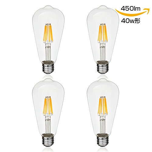 RoomClip商品情報 - 【4個入り】LED電球 E26 フィラメント 40W形相当 4W ク リアタイプ エジソンランプ ST64 電球色 450lm 広配光タイプ LEDクリア電球 360度発光