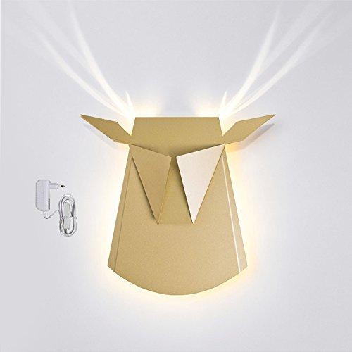 Popup Lighting Elegant Aluminium Wall LED Light Deer Head Fixture Electricity Plug in Gold [並行輸入品]