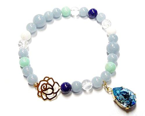 姫系薔薇&青色系天然石エンジェライト、ラピスラズリブレスレット 【Rose&Cross】
