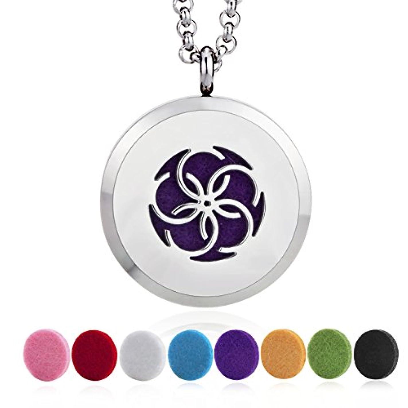 検査官カルシウム満足Aromatherapy Essential Oil Diffuser necklace-stainlessスチール2つのロケットペンダントチェーン+ 8フェルトパッド