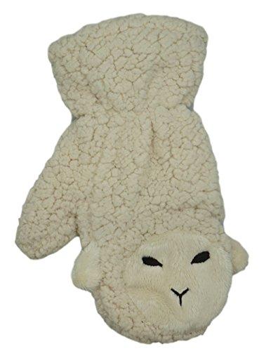 アニマル シリーズ ミトン タイプ 手袋 モコモコ ふわふわ 猫 ヒツジ クマ うさぎ (シュールな羊 ホワイト)
