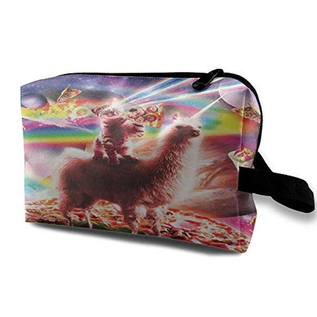 放課後涙が出る発生するLaser Eyes Cat Riding On Llama Unicorn 収納ポーチ 化粧ポーチ 大容量 軽量 耐久性 ハンドル付持ち運び便利。入れ 自宅?出張?旅行?アウトドア撮影などに対応。メンズ レディース トラベルグッズ