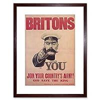 War Recruitment Army Military Kitchener UK Framed Wall Art Print 戦争リクルート軍軍隊キッチンイギリス壁