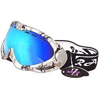 RayZor Professional uv400ダブルLensedスキー/スノーボードゴーグル、with aシルバー迷彩フレームとミラーアンチグレアアンチフォグコーティング、VentedブルーイリジウムのワイドビジョンClarity lens. by Rayzor