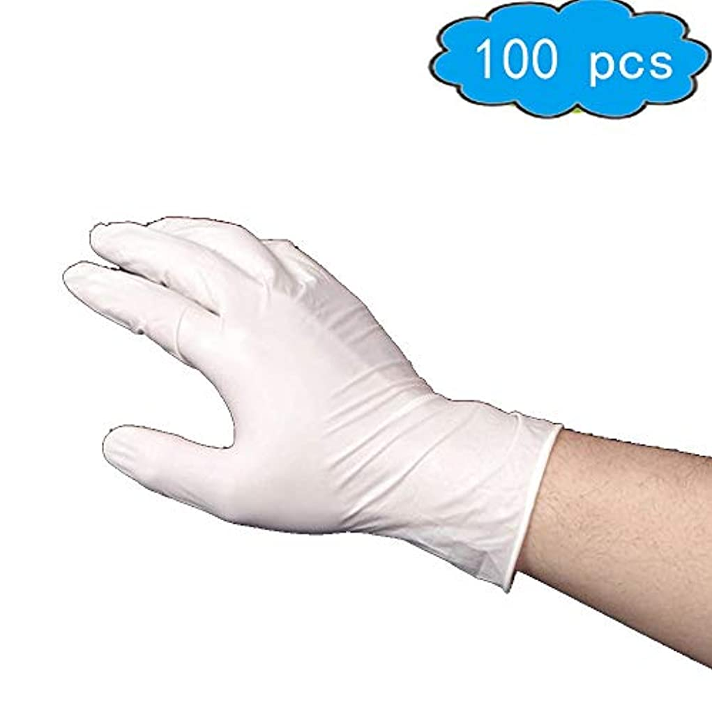 アナログ装置権限使い捨てニトリル試験手袋、(グレー)-医療グレード、ラテックスフリー、パウダーフリー、食品安全(100、中)、家庭用品 (Color : White, Size : S)