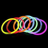 ライトスティック 光るブレスレット ジョイントコネクタ付き イベント 夏フェス 100本入り 8色50本セット 約8時間点灯 (オレンジ, 50本セット)