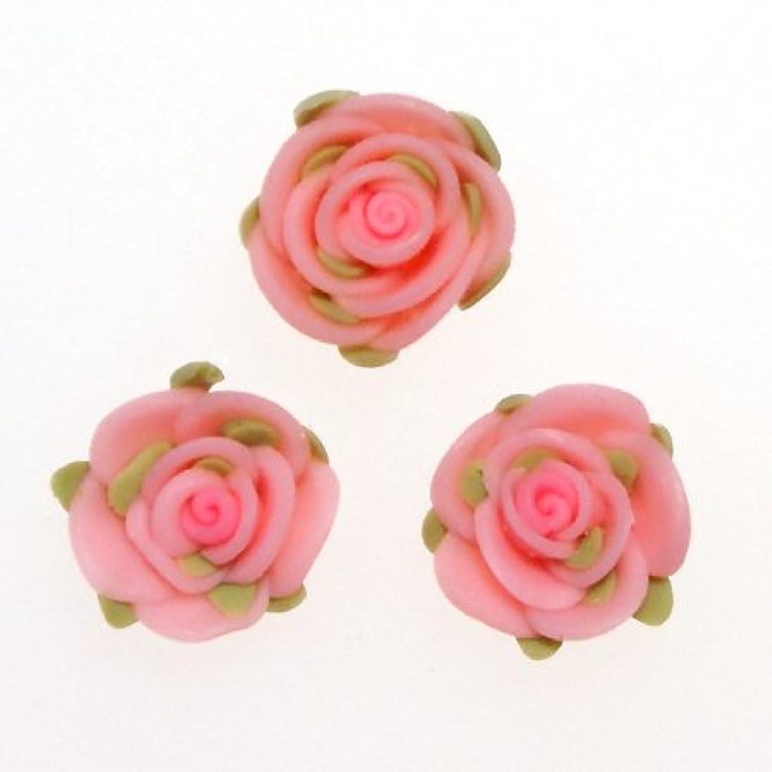 守銭奴叱るライドデコパーツ 葉も付いてる2cm大きな樹脂薔薇[d-r3] レジンパーツ レジンクラフト