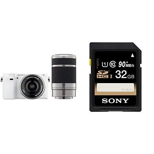ソニー SONY ミラーレス一眼 α6000 ダブルズームレンズキット E PZ 16-50mm F3.5-5.6 OSS + E 55-210mm F4.5-6.3 OSS ホワイト ILCE-6000Y W + SDHC 32GB Class10 UHS-I対応 SF-32UY3