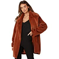 Twiin Women's Inherit Fur Coat Polyester Orange