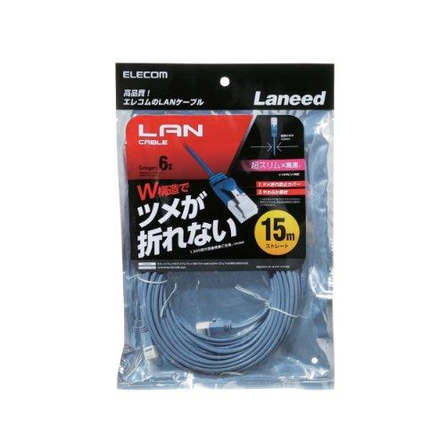 ツメ折れ防止LANケーブル スリムタイプ Cat6準拠 ブルー 15m RoHS指令準拠 LD-GPST BU150