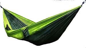 ハンモック 2人用 昼寝 軽量 コンパクト パラシュート 製 収納袋 ロープ カラビナ 付き キャンプ アウトドア ピクニック (グリーン×モスグリーン)