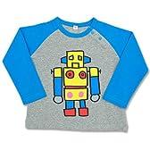 コレジャナイロボ (黄色)ラグラン長袖Tシャツ グレー×ブルー100サイズ
