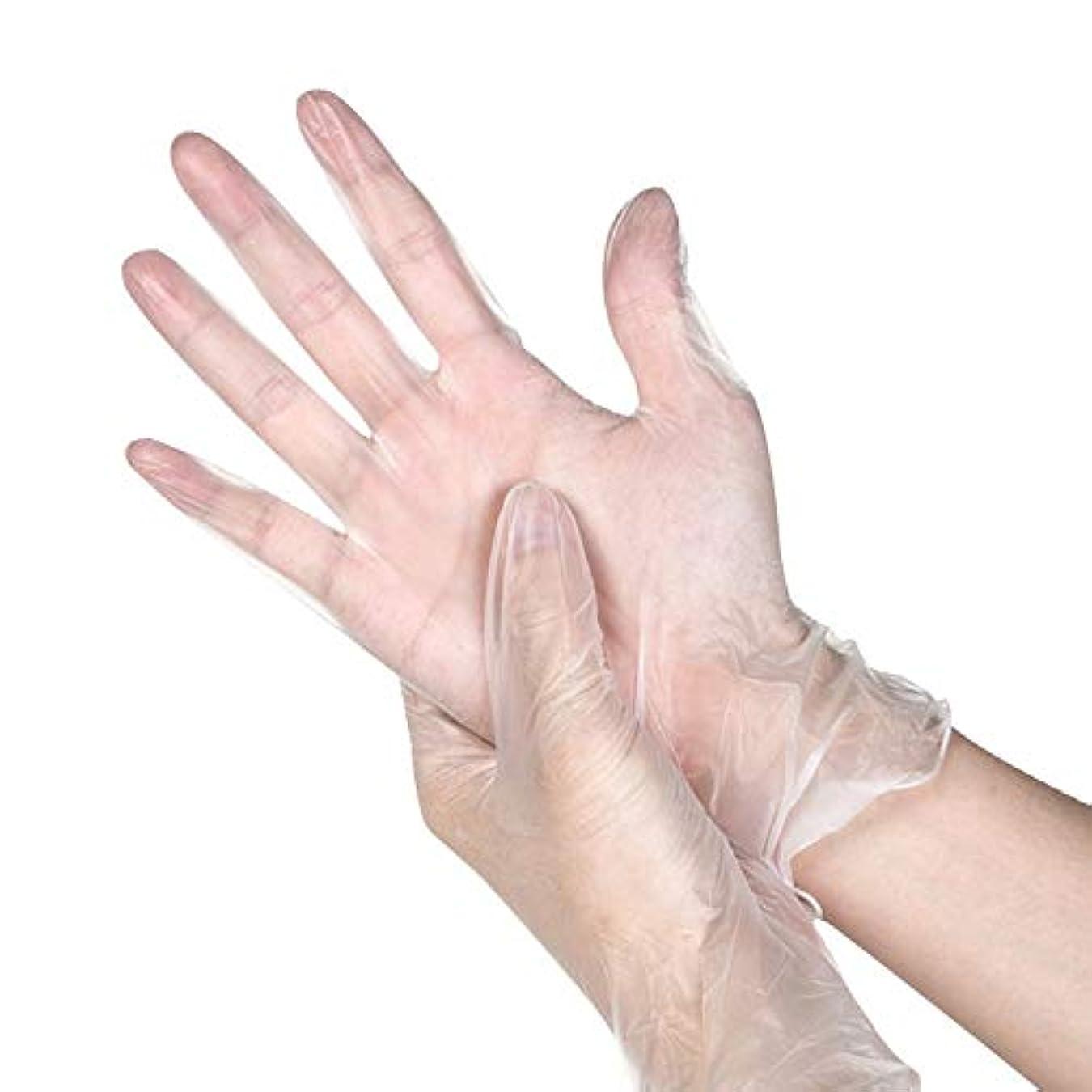 スナッチ誘惑する服100組の透明なポリ塩化ビニールの手袋粉のないA等級の防水および耐油の使い捨て可能な食糧美容院のビニールの手袋 YANW (色 : トランスペアレント, サイズ さいず : M m)