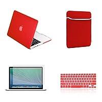 iLover 13インチ古い世代のMacBook Pro A1425およびA1502用のゴム引きハードケース、スリーブ、キーボードカバー、スクリーンプロテクター(リリース2012-2015)-赤