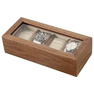 SUNBRAND 木製ウォッチBOX 4本収納 ウォルナット無垢木 W002-1