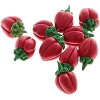 ノーブランド品 10個入り  1/12スケール  ドールハウス  ミニチュア   野菜  ピーマン  唐辛子  装飾  3種類選べる - レッドピーマン