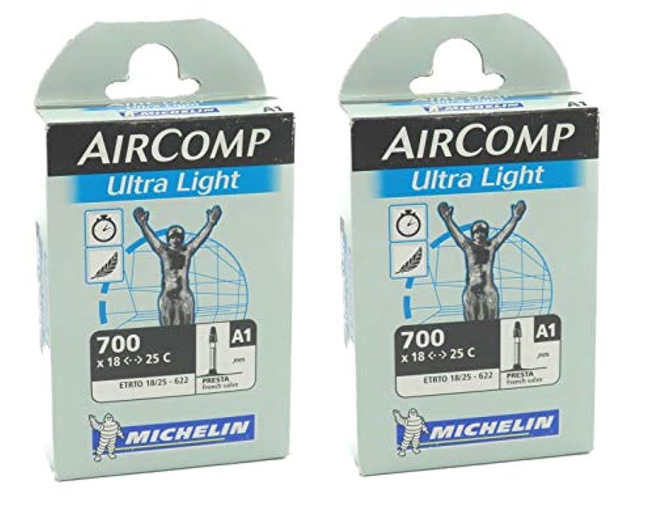 おそらく転送準備2本セット MICHELIN (ミシュラン) AIRCOMP ULTRALIGHT(エアーコンプウルトラライト) 700×18/25c 仏式 超軽量チューブ [並行輸入品]