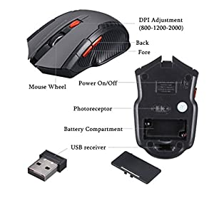 HotGame ワイヤレスマウス 2.4 G無線マウス ゲームマウス 省エネルギー  省電力 マウス 持ち運び便利  コンピューターマウス (1)