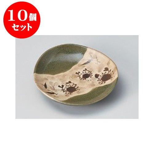 10個セット 取皿・銘々皿 織部蟹絵小皿 [12.2 x 2...