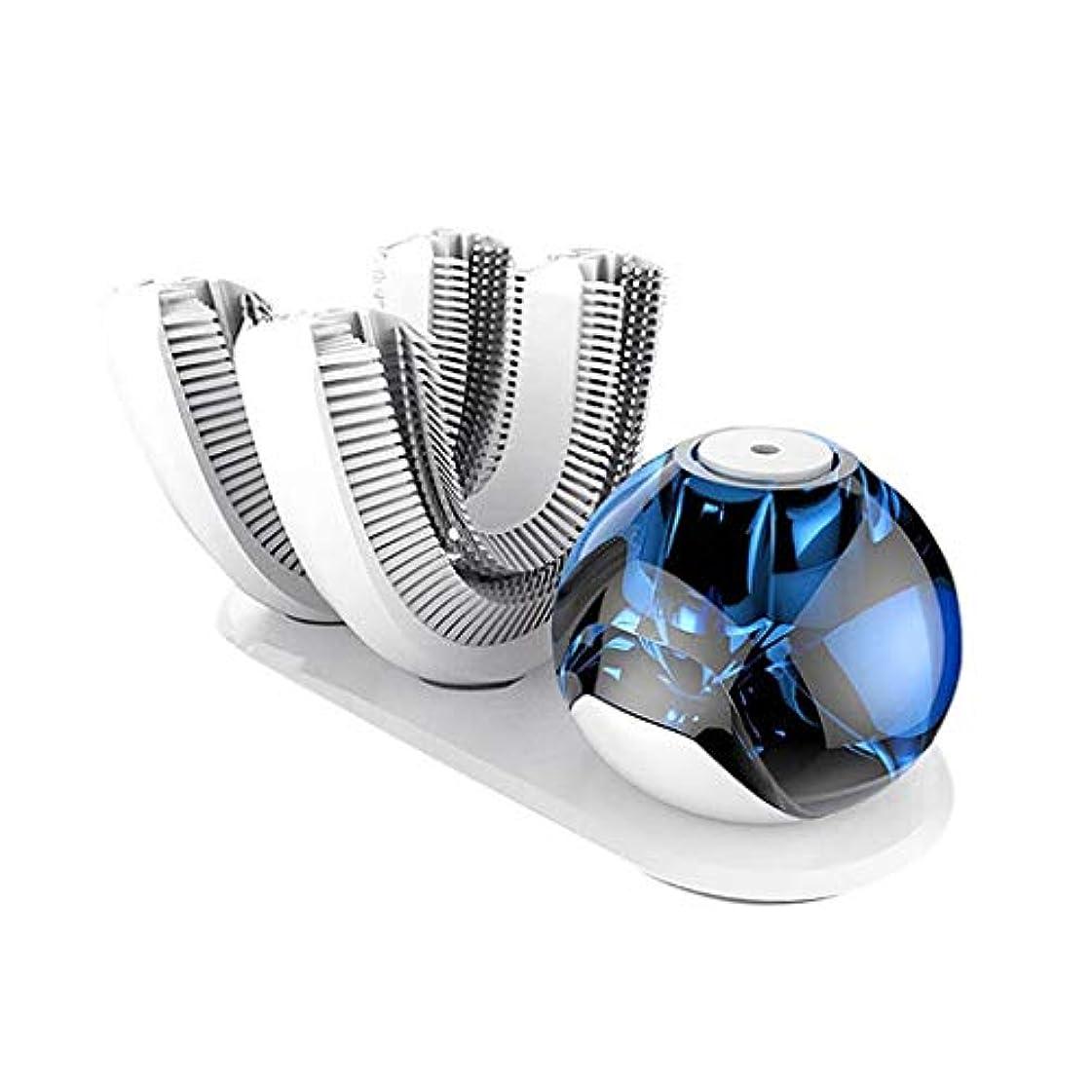 聴覚ラフト傷つきやすい全自動電気サブブラシ、U型LED歯のホワイトニングアクセラレータ無料あなたの手の自動クリーニングタイミング歯IPX7の防水食品グレードシリコンブラシヘッド