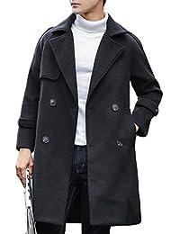 YiTong チェスターコート メンズ 冬 韓国風 オーバーコート ロングコート ファッション シンプル 厚手 カジュアル コート ゆったり ダブルボタン かっこいい コート